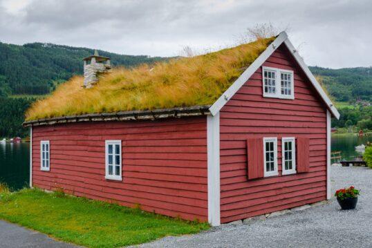Idee für die Dachbepflanzung – Gemütliches Landhaus am See im skandinavischen...