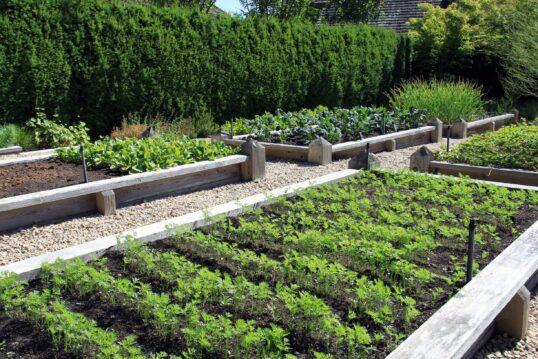 Idee für einen großen Garten mit verschiedenen Hochbeeten