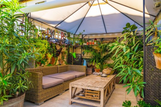 Gestaltungsidee für eine gemütliche Terrasse mit Pflanzen und Sonnenschutz