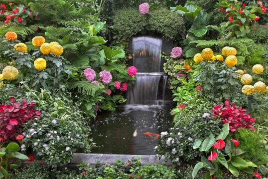 Idee mit Wasser im Garten – Bunt bepflanzter Gartenteich mit kleinem Wasserfa...