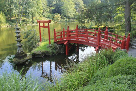 Asiatische Gartenidee – Japanischer Garten mit traditonellen Torii  roter Brü...