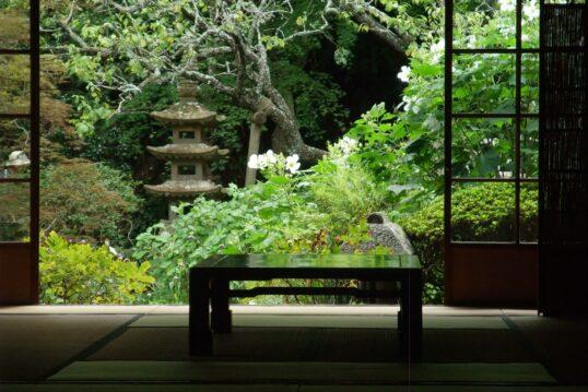 Asiatische Gartenidee – Blick aus asiatischen Anwesen auf reich bepflanzten u...