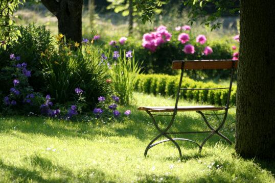 Gestaltungsbeispiel für den Landhaus Garten mit Gartenbank aus Metall an einem Baum...