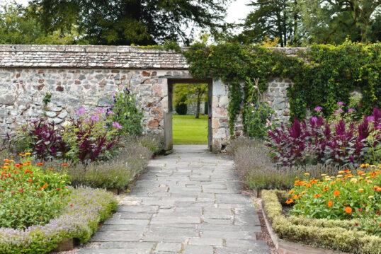 Landhaus Gartenidee mit einer rustikalen Gartenmauer mit Kletterpflanzen & Gar...
