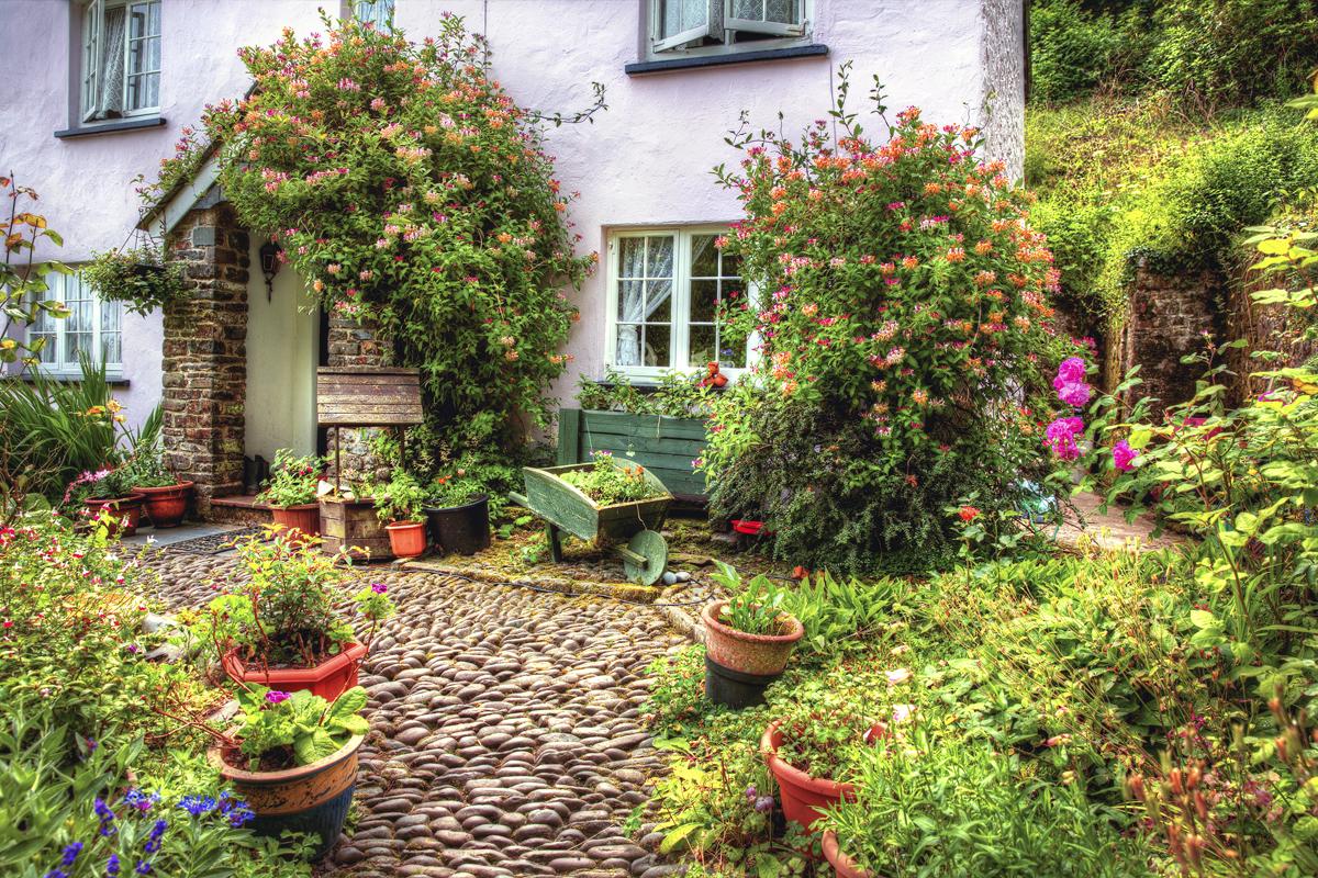 Gartengestaltung im Landhausstil mit locker platzierten Pflanzen