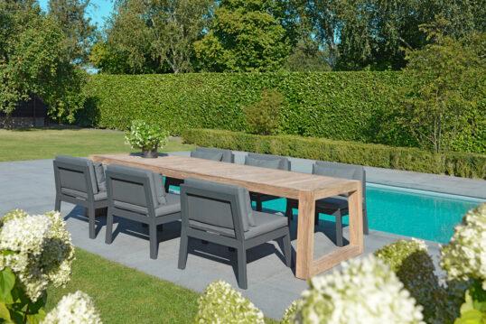 Moderne Gartengestaltung – Beispiel mit einer Terrasse am Pool – große ...