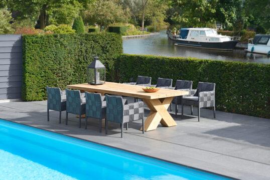Idee für die Gestaltung des Poolbereichs mit Terrasse – Polyrattanstühle ...