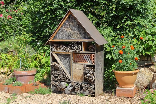 Gartenidee mit einem stehenden Insektenhotel vor der Gartenhecke – Beispiel m...