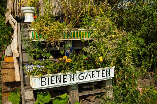 Idee für den Garten mit selbstgebauten Insektenhotel als Bienengarten – Beisp...