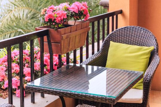 Balkon Idee – Kleiner gemütlicher Balkon mit pinken Rhododendren im Blumenkas...