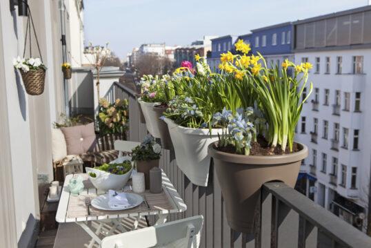 Romantisches Beispiel für einen kleinen schmalen Balkon mit Sitzgruppe – Idee...