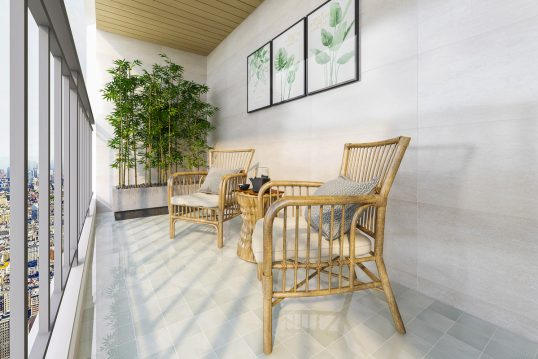 Moderne Idee für einen überdachten Balkon – Beispiel mit zwei Korbstühlen ...