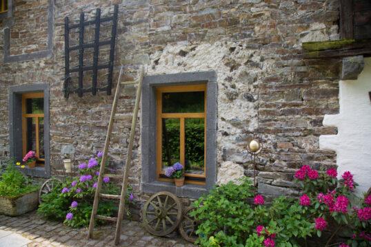 Deko Idee vor der Hauswand – Beispiel mit Rhododendron-Pflanzen & Blumen...