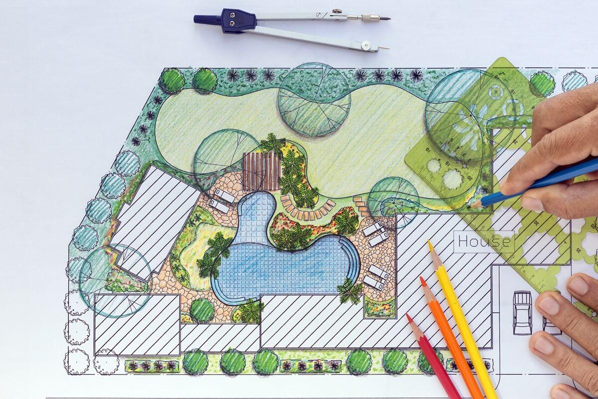 Für eine optimale Gartengestaltung kannst Du Dich von einem Landschaftsarchitekten unterstützen lassen.