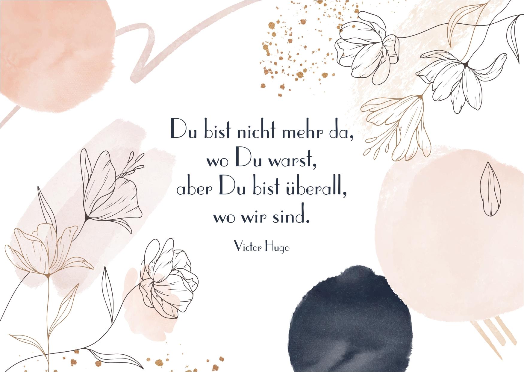 Schöne & kreative Abschiedskarte mit Abschiedsspruch kostenlos zum Download - Worte zum Abschied finden für Familie, Verwandte, Bekannte und Freunde - Trauerkarte zum Abschied schreiben - Liebevolle Trauerkarte mit Spruch oder Zitat zum Versenden