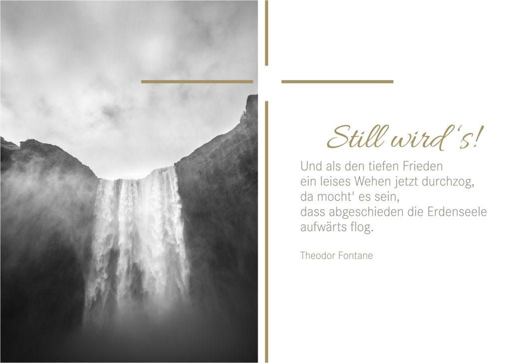 Beileidskarte mit einem Spruch von Theodor Fontane