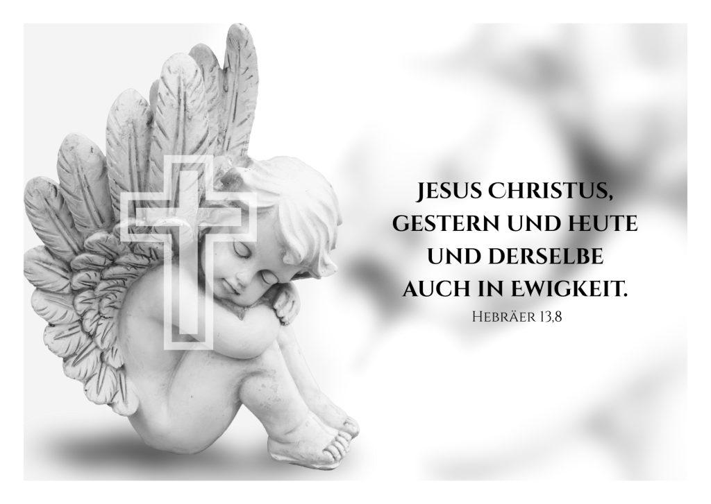 Schöne Trauerkarte oder Beileidskarte mit einem christlichen Spruch aus der Bibel