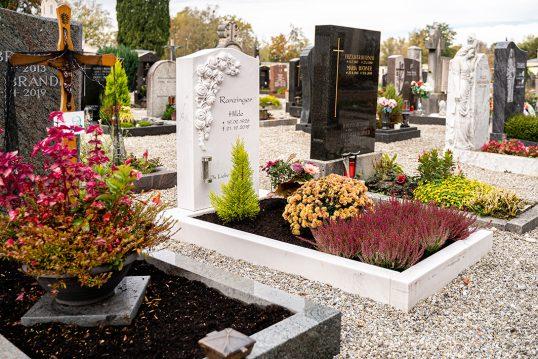 Gestaltungsidee für ein Einzelgrab – Schönes Grabmal eines Blumenfreundes ...