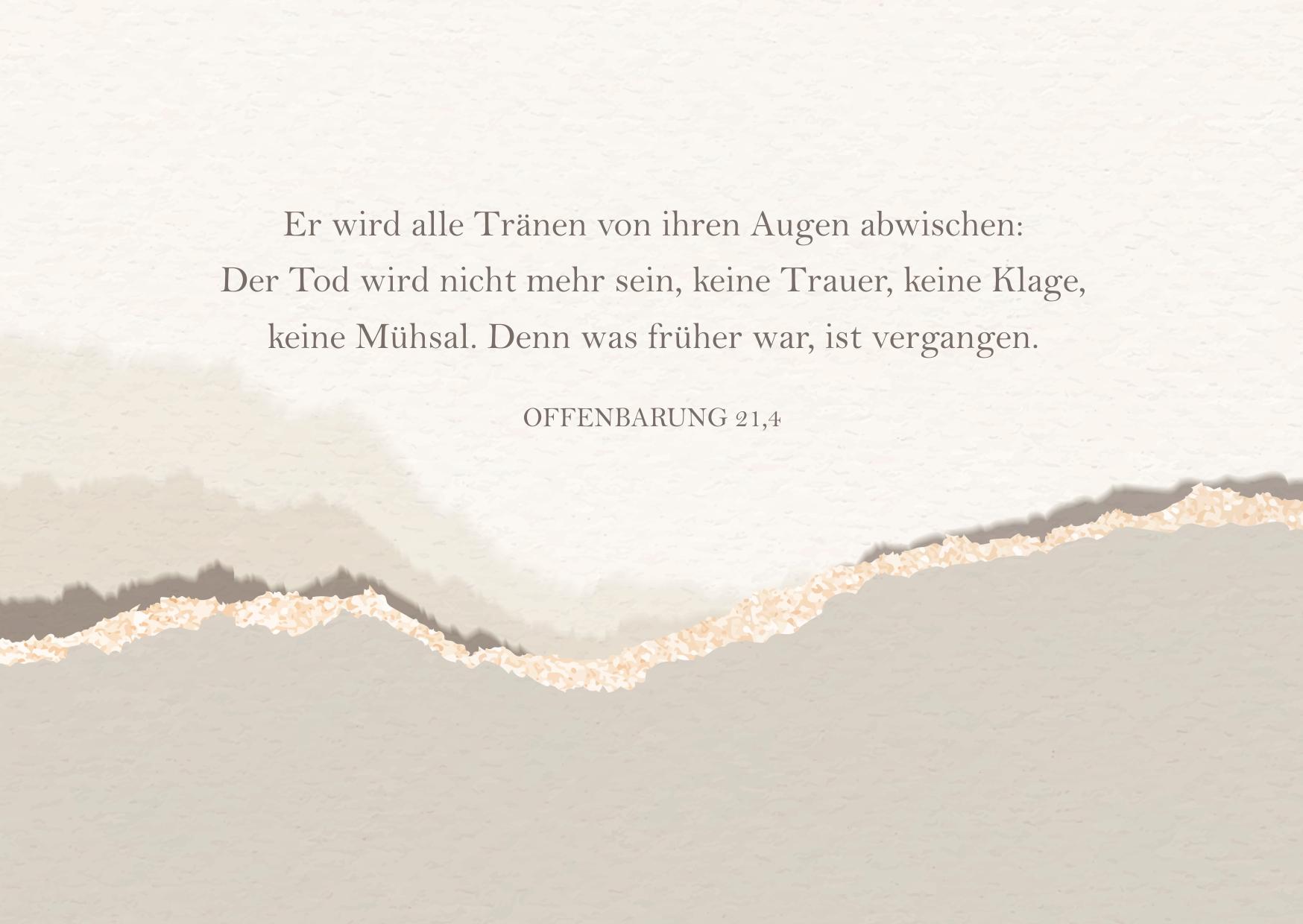Digitale Trauerkarte oder Beileidskarte mit Trauerspruch zum Versenden auf WhatsApp, Facebook & Co - Vorlage oder Beispiel für einen Trauerspruch für die Trauerkarte