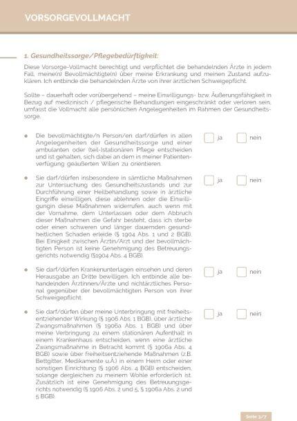 Vorsorgevollmacht Seite 3