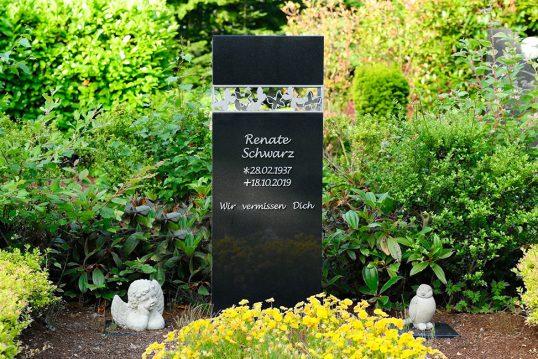 Einzelgrab Gestaltung – moderner Grabstein aus Granit poliert mit Gestaltungs...