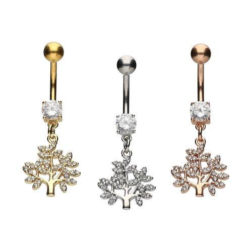 Piercinginspiration Kristall Baum Anhänger Bauchnabel