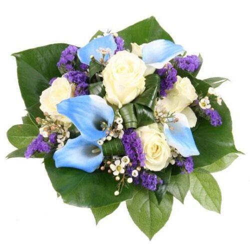 Ein blauer Diamant zum Geburtstag-blau-weiße Calla