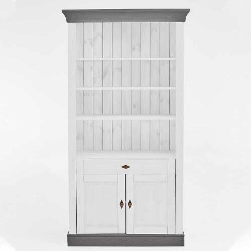 Holz Regal in Weiß und Grau Kiefer teilmassiv