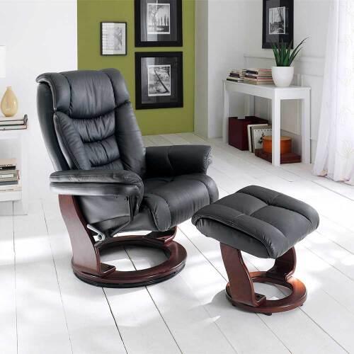 Relaxsessel in Schwarz Leder mit Hocker (zweiteilig)