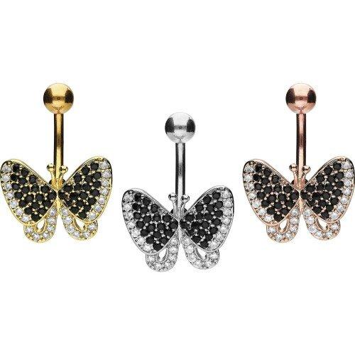 Piercinginspiration Schmetterling Schwarze Kristalle