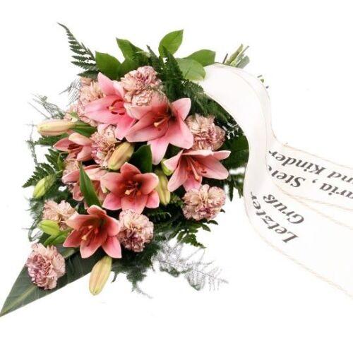 Premium-Trauerstrauß / Grabstrauß Rosa mit Lilien