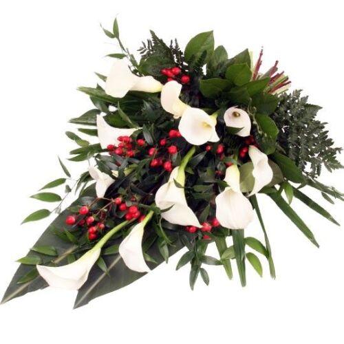 Trauerstrauß Weiß-Rot mit Calla - der exklusive Trauer-Blumen