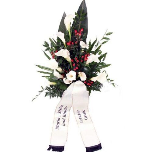 Premium-Grabstrauß Weiß-Rot mit Calla und roten Rosen
