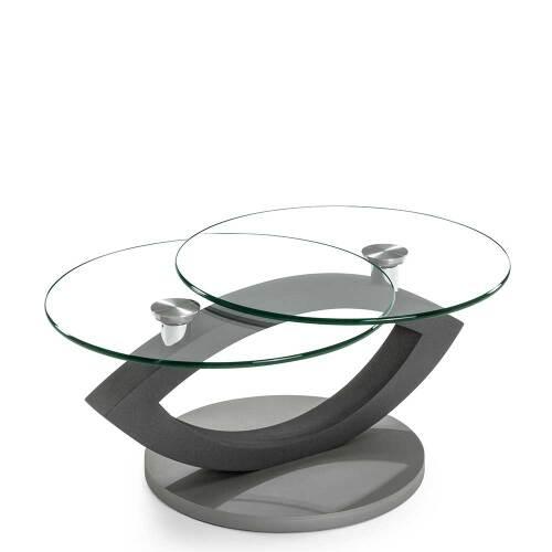 Design Sofatisch in Grau zwei runden Glasplatten