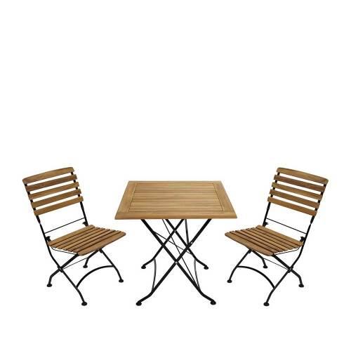 Balkon Sitzgruppe aus Teak Massivholz klappbar (dreiteilig)