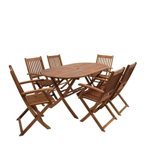 Gartentischgruppe mit ovalem Tisch klappbaren Stühlen