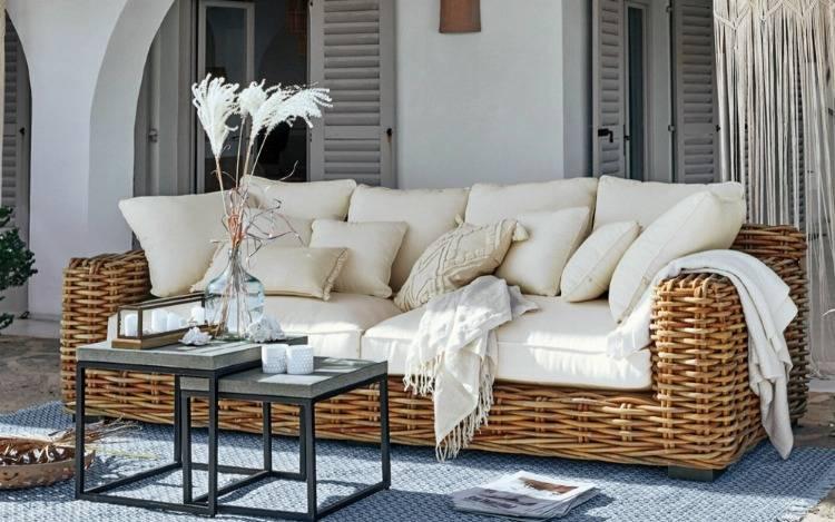 Wetterfeste Gartensofas aus Rattan, Holz, Aluminium & Co