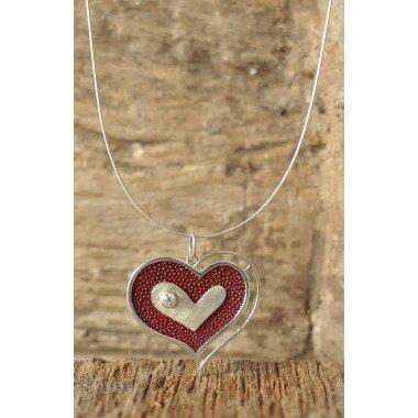 Herz Kettenanhänger, Valentine, Lovely Heart, Sterling Silber Bordeaux