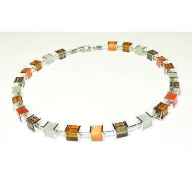 Kette, Halskette, Collier, Würfelkette, Perlen, Glas, Glaswürfel, Cateyewürfel