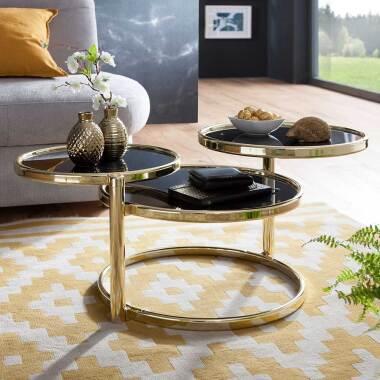 Design Couchtisch im drei runden Glasplatten Schwarz und Goldfarben