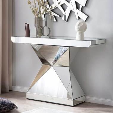 Design Konsolentisch aus Spiegelglas rechteckiger Tischplatte