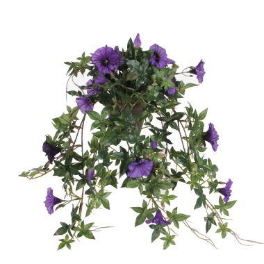 Mica Kunstpflanze Petunien hängend im Topf dunkelviolett, 50 x 45 x 25 cm