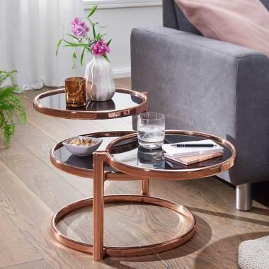Retrostil Couchtisch mit drei runden Glasplatten Schwarz und Kupferfarben