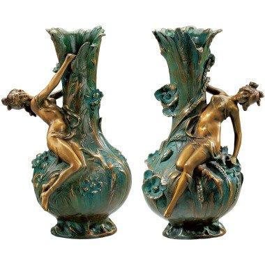 Louis Auguste Moreau: 2 Vasen 'Marguerites' und 'Coquelicot' im Set, Version in bei ars mundi