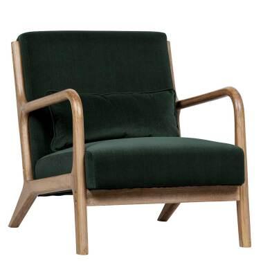 Wohnzimmer Sessel aus Samt und Massivholz Retrostil