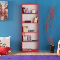Bücher Regal Jugendzimmer in Rot und Weiß melaminbeschichtet