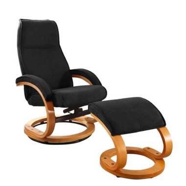 Drehbarer Design Sessel in Schwarz Microfaser Fußhocker (zweiteilig)
