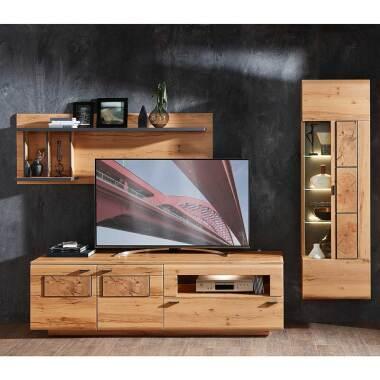 Fernseher Schrankwand in Kernbuche Hirnholz Optik modern (dreiteilig)