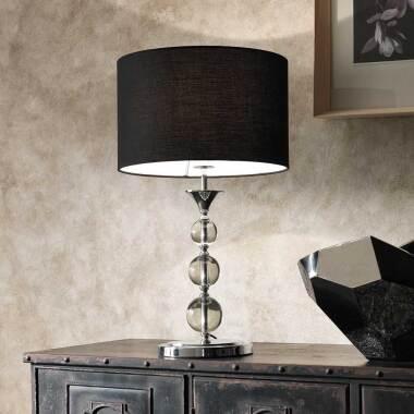 Tischlampe mit Schirm in Schwarz Glas