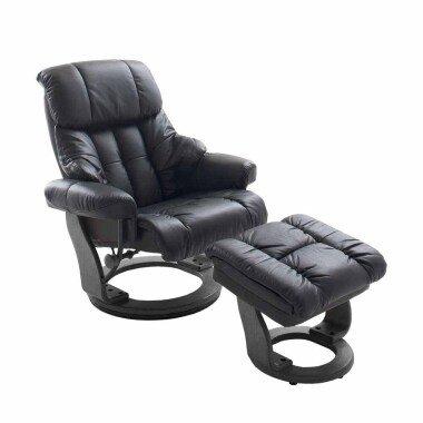 Relaxsessel aus Leder Schwarz mit Hocker (zweiteilig)